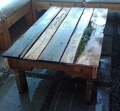 Madrona Outdoor Pallet Coffee Table. Making furniture from wooden pallets
