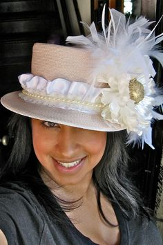 GARDEN PARTY Vintage Soft Pink Mad Hatter Style Hat