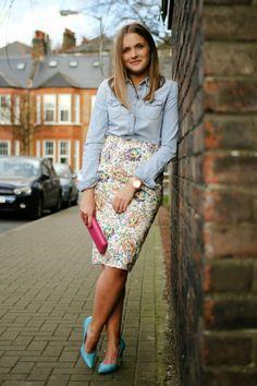 denim chambray shirt + floral pencil skirt