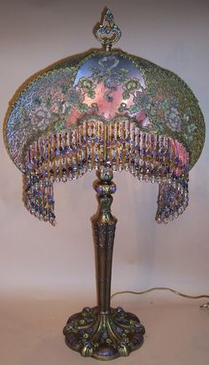French Metallic Chenille Flower Embroidered Table Lamp Peacock Gypsy Design