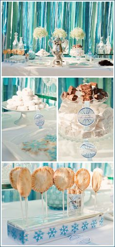 dessert table #dessert #table #blue #green #white #teal #silver #glass #doughnuts #marshmallows #streamers