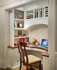 office spaces, office nook, small offices, pocket doors, closet office, small spaces, closet space, desk nook, home offices