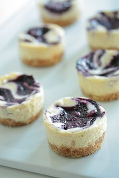 White Chocolate Blueberry Mini Cheesecakes