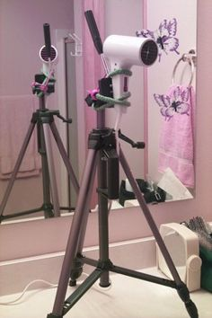 Tripod Mounting a Hairdryer for one handed living