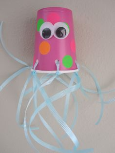 Cup Jelly Fish Craft  #animalcraft #kidscraft