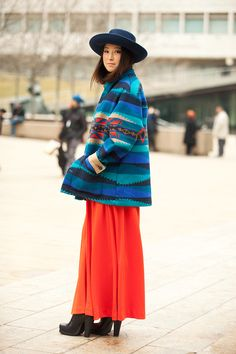 jacket, hats, fashion weeks, orang, outfit, color patterns, street styles, coat, blues