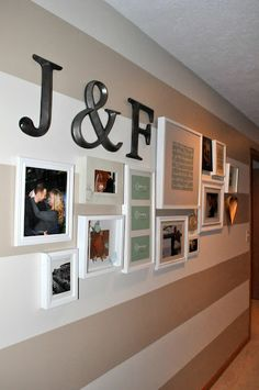 your relationship as a timeline on your wall in master bedroom... Love this idea and the stripped wall