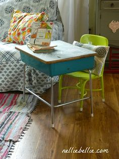 Vintage desk and bright chair. Cute homework station.