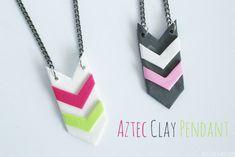 Aztec Clay Pendant - Tutorial using Sculpey Soufflé Clay clay pendant, aztec clay, sculpey clay jewelry