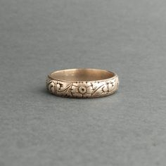 Antique Mens Wedding Ring. 800 Silver. Late Georgian Early Victorian. Floral Band. on Etsy, $280.00 #mens #weddingring #weddingband    #manly  #antique ring