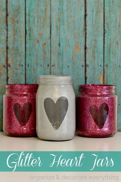 glitter heart jars. so easy. so cute.