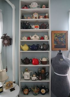 Lisa Zador on Apartment Therapy - dressform + teapots, exactly what I want