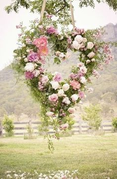 Lovely floral display for an outdoor wedding