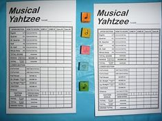 Musical Yahtzee game. Looks like a lot of fun to do with a music class.