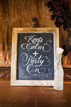 keep calm and party on wedding bar sign