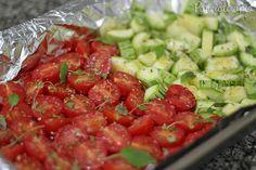 Tomatinhos e abobrinhas assados