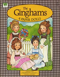 the ginghams paper dolls, little girls, 70s paper dolls, vintage paper dolls, 80s paper dolls