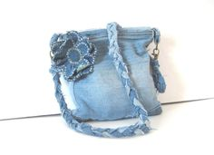Denim Purse Crossover Strap Hip Bag with by SmiLeaGainCreations, $38.00