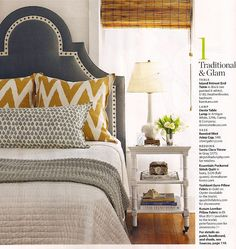 love the headboard, and the mix of yellow, white and gray