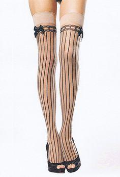 Leg Avenue Striped Stockings With Satin Bows