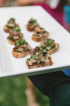 Oluwalu Plantation House Wedding Maui Hawaii Steak Crostinis Event Production and Catering: Celebrations Catering Maui Photography: Mike Adrian Decor: Rio Event Design Floral: Teresa Sena Designs
