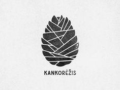 FASCINATIE - Kankorėžis logo, ik ken het merk niet maar het logo spreekt me aan. Het lettertype lijkt erg authentiek en het lijnenspel is grafisch maar lijkt tegelijk op een dennenappel. Ik vind het ook mooi dat er geen kleur is gebruikt.
