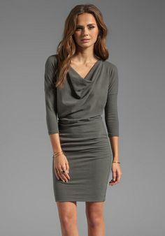 James Perse Gray Dolman Cowl Dress in Gray, $225