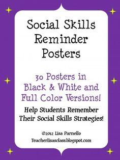 Social Skills Reminder Posters product from Teacher-Lisas-Shop on TeachersNotebook.com