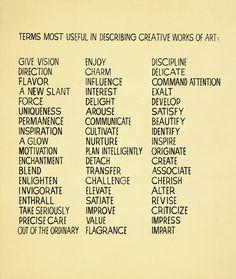 art vocab, idea, term, describ creativ, write, creativ work, inspir, john baldessari, artist statement