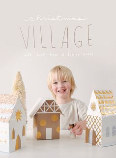 DIY Christmas village made with tissue boxes + duct tape