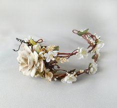 bridal wreath headpiece, ivory flower head wreath, cream wedding head piece, bridal hair accessories - LIMBERLOST - rustic wedding crown