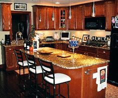 wood and black appliances