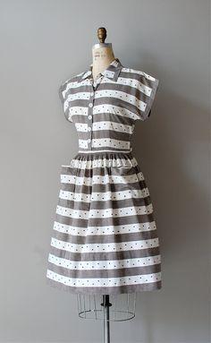 1940s dress / cotton 40s dress / Dotty Stripe dress. $128.00, via Etsy.
