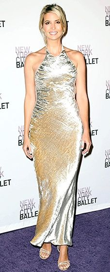 Ivanka Trump looked ravishing in a molten gown, a look she finished with matching metallic, double strapped sandals.