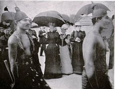 Samoan men, showing themselves to some fascinated, yet shocked, ladies of Chicago, at The World's Fair: Columbian Exposition. This was a World's Fair held in Chicago in 1893 to celebrate the 400th anniversary of Christopher Columbus's arrival in the New World in 1492.    I just finished reading a book about this (The Devil In the White City, by Erik Larson), so I'm frolicing in seeing more photos of the Fair right now.