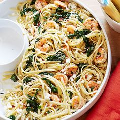 Linguine with Shrimp, Lemon & Feta