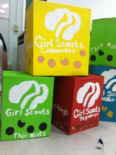 life-size girl scout cookie boxes - would be cute for booth decorations!