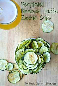 Dehydrated Parmesan Truffle Zucchini Chips | The Foodie Dietitian @karalydon I will definitely be making these! YUM!!