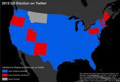 Obama vs. Romney Twitter map