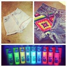 My DIY plan: Distress these old shorts and paint an Aztec design (similar to these from #RUNWAYDREAMZ) with glow-in-the-dark paint. Perfect for standing out this #festival season!