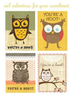 Cute printable owl Valentine's.
