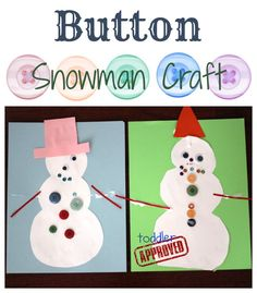 Button Snowman Craft toddler approv, winterchristma craft, button snowman, snowman crafts, buttons, activ, winter craft, toddlers, kid craft