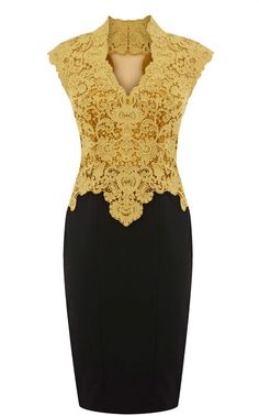 Yellow Formal Dress - Sheer Back Lace Pencil Dress | UsTrendy