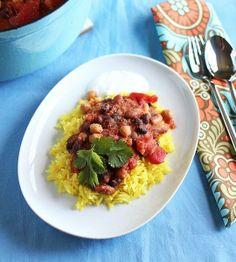 #Recipe: Mixed Bean Masala with Fragrant Yellow Rice