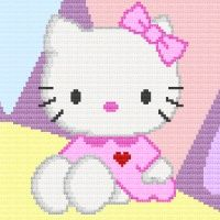 Hello Kitty Love Ya' Afghan Blanket Crochet Pattern