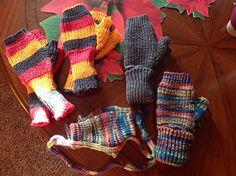 Sock yarn fingerless mitts on flat bed knitting machine