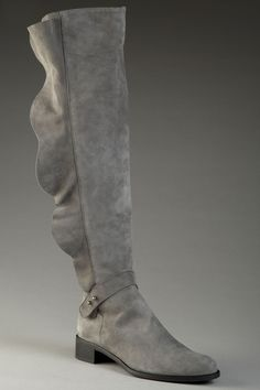 Cute!! I love the ruffle down the side of this boot- Butter & Something Bleu- on sale for $275 #boots #shoes #ruffles