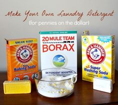 Make your own laundry detergent for super duper cheap! Powder AND Liquid versions listed.