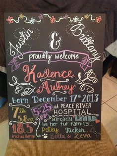 Custom birth announcement chalk art board by LittleMacDesign, $40.00