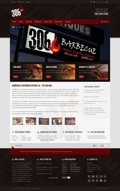 Custom #Joomla Template & #webdesign for 306 Barbecue | BBQ in Athens, Alabama. webdesign, rehearsal dinners, rehears dinner, barbecu, athen